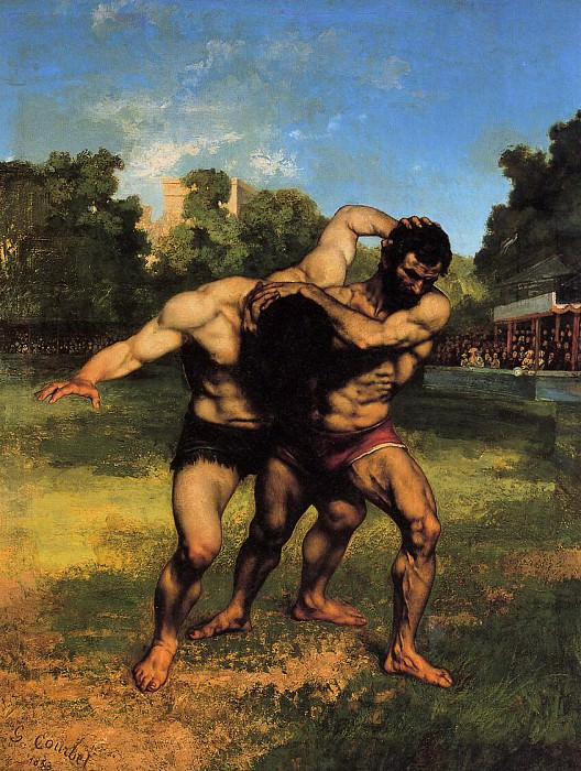 The Wrestlers. Gustave Courbet