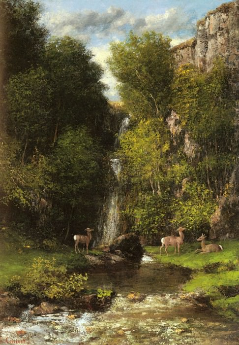 A Family Of Deer In A Landscape With A Waterfall. Gustave Courbet