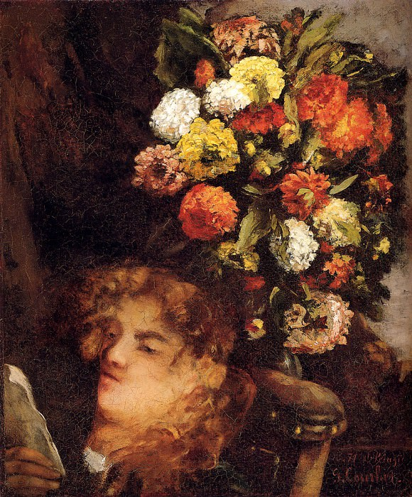 Head Of A Woman With Flowers. Gustave Courbet