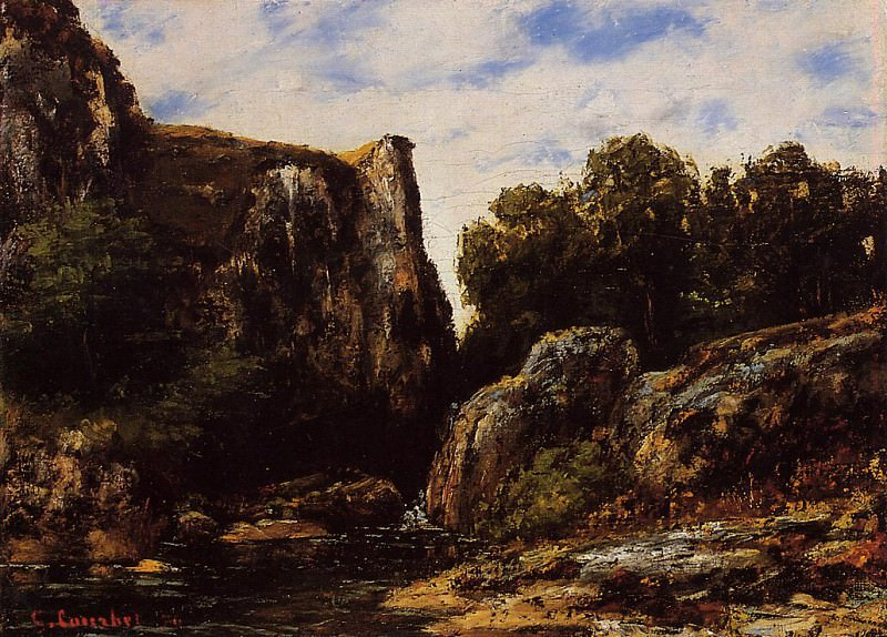 A Waterfall in the Jura. Gustave Courbet