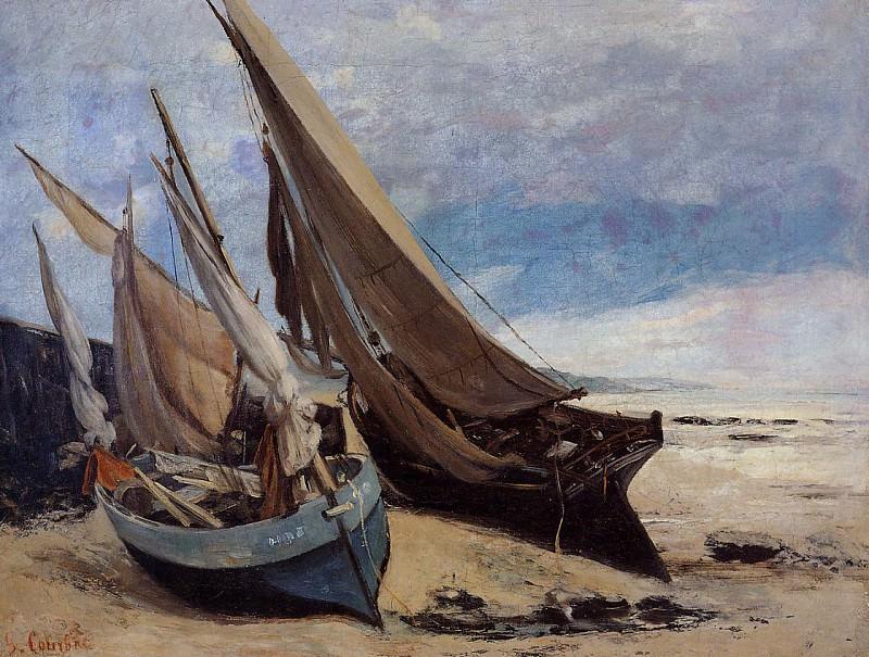 Рыбацкие лодки на берегу в Довиле. Гюстав Курбе
