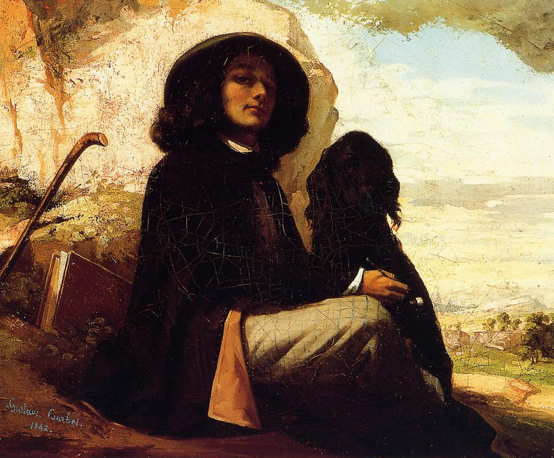 Gustave Self Portrait with a Black Dog. Gustave Courbet