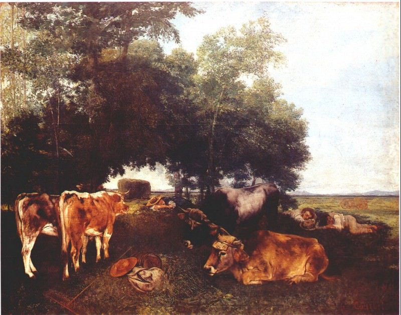 the rest during the harvest season (mountains of the doubs) 1867. Gustave Courbet