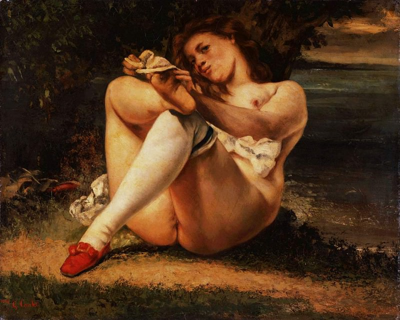Woman with white stockings, ca 1861, Barnes foundati. Gustave Courbet