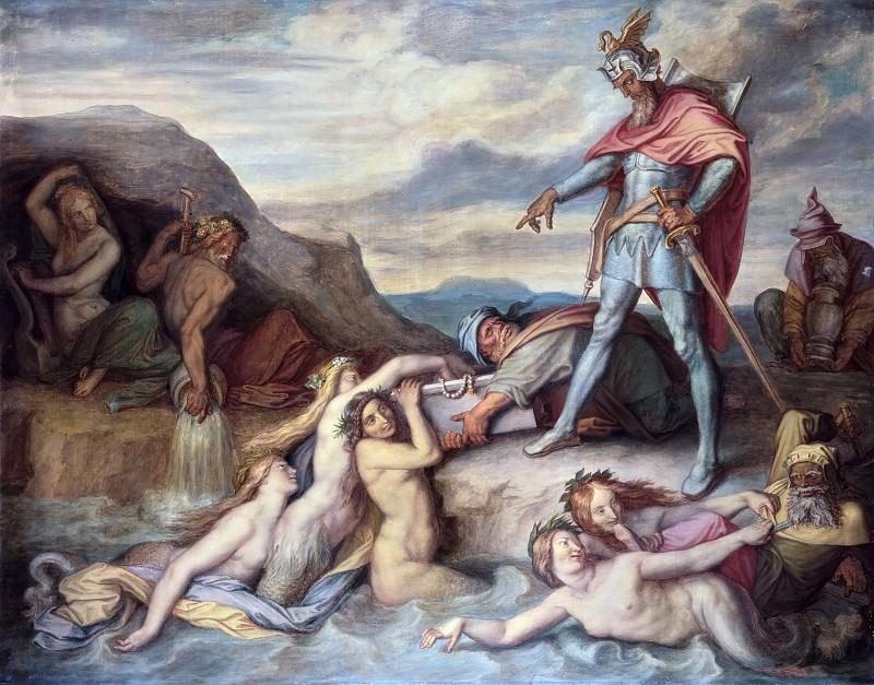 Hagen Sinks the Nibelungen Treasure into the River Rhine. Peter Von Cornelius