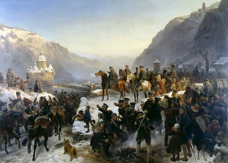 Blucher crossing of the Rhine at Kaub on January 1, 1814. Wilhelm Camphausen