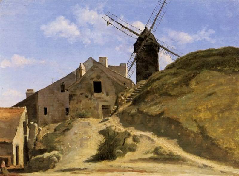 A Windmill in Montmartre. Jean-Baptiste-Camille Corot