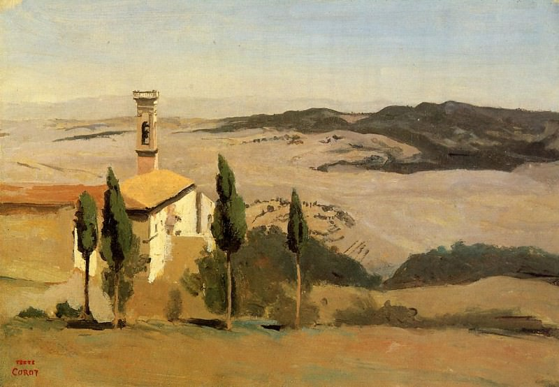 Volterra Church and Bell Tower. Jean-Baptiste-Camille Corot