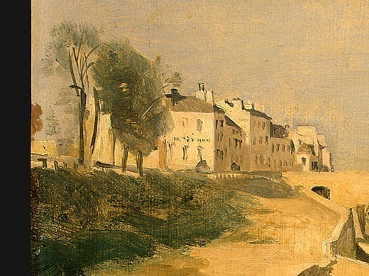 River Scene with Bridge, 1834, Detalj 1, NG Washington. Jean-Baptiste-Camille Corot