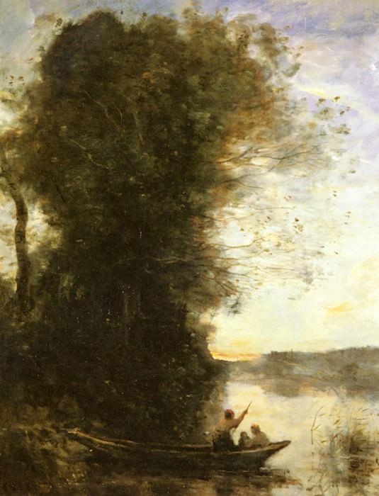 Le Batelier Quittant La Rive Avec Une Femme Et Une Femme. Jean-Baptiste-Camille Corot