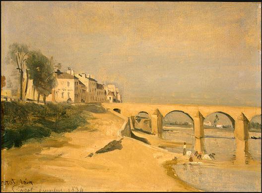 River Scene with Bridge, 1834, NG Washington. Jean-Baptiste-Camille Corot
