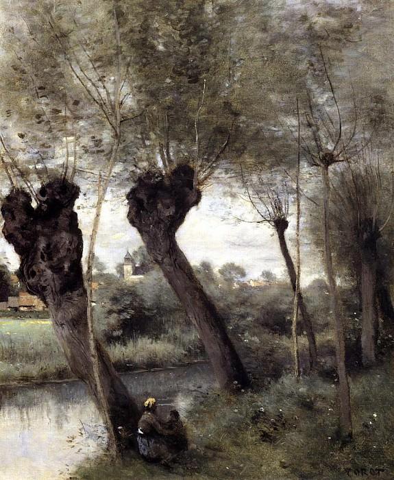 Saint Nicholas les Arras Willows on the Banks of the Scarpe. Jean-Baptiste-Camille Corot