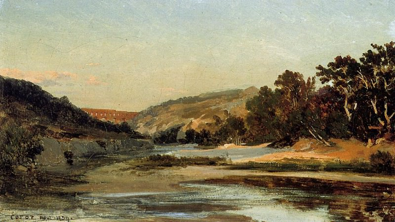 The Aqueduct in the Valley. Jean-Baptiste-Camille Corot