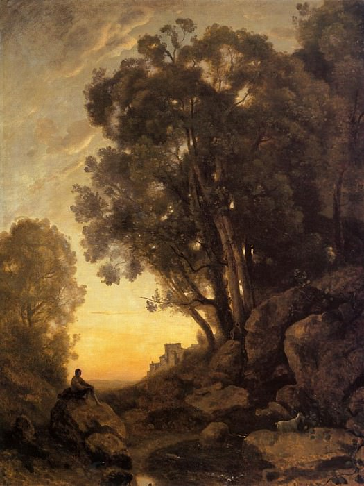The Italian Goatherd Evening. Jean-Baptiste-Camille Corot