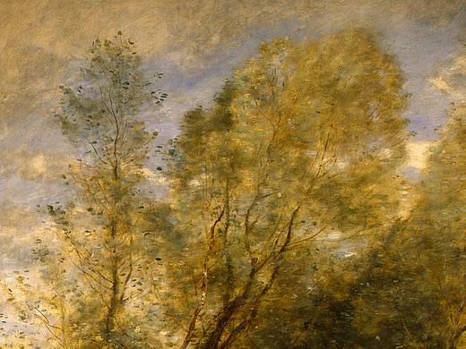 The Forest of Coubron, 1872, Detalj 1, NG Washington. Jean-Baptiste-Camille Corot