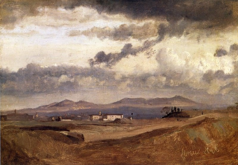 View of the Roman Campagna. Jean-Baptiste-Camille Corot
