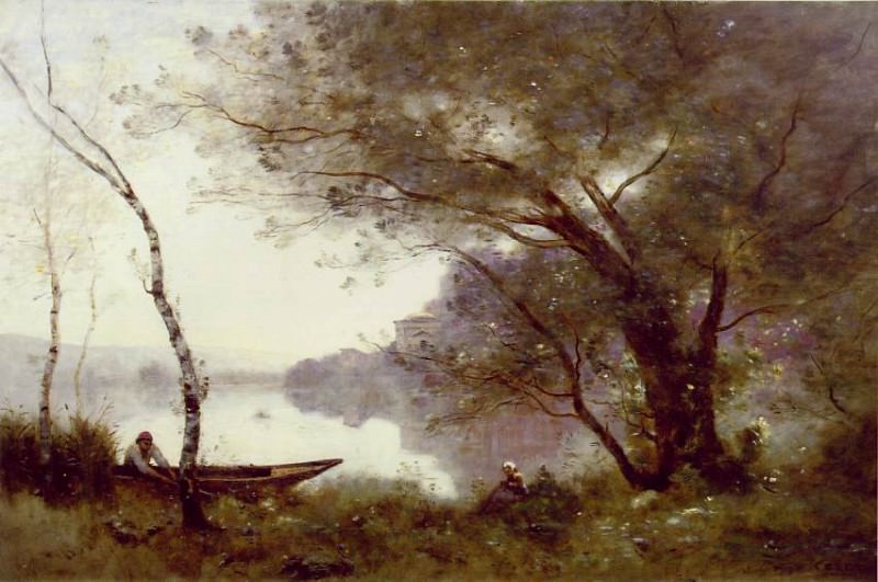 The Boatman of Mortefontaine, ca 1865-1870, 60.9x89.8. Jean-Baptiste-Camille Corot
