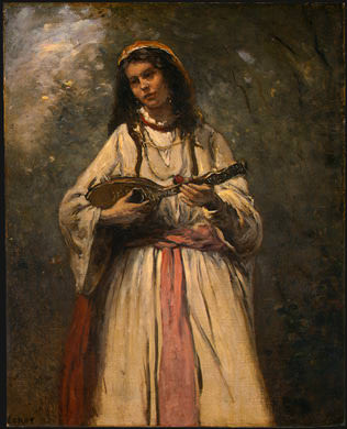 Gypsy Girl with Mandolin, probably c. 1870-1875. Jean-Baptiste-Camille Corot