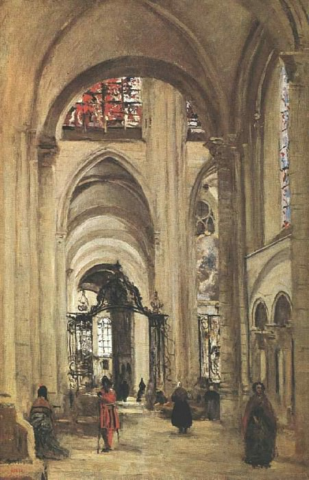 Interior of Sens Cathedral, 1874, Louvre. Jean-Baptiste-Camille Corot