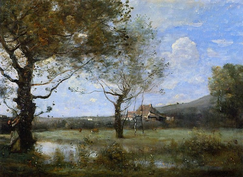 Meadow with Two Large Trees. Jean-Baptiste-Camille Corot