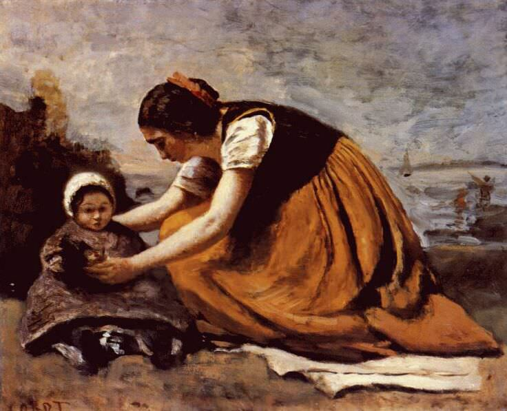 mother and child on the beach c1860. Jean-Baptiste-Camille Corot