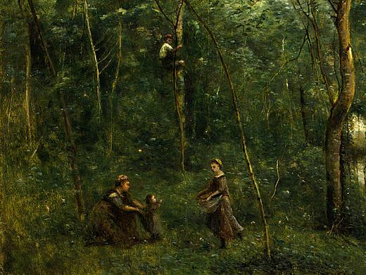 Собиратели угрей, ок.1860-65, фрагмент. Жан-Батист-Камиль Коро