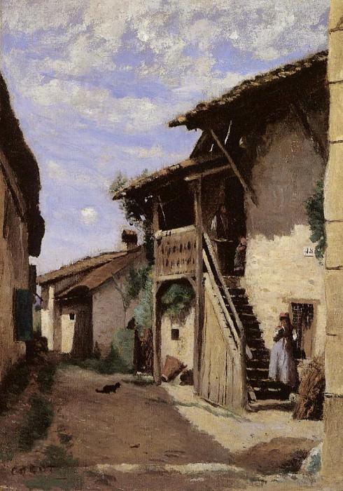 A Village Steeet Dardagny. Jean-Baptiste-Camille Corot