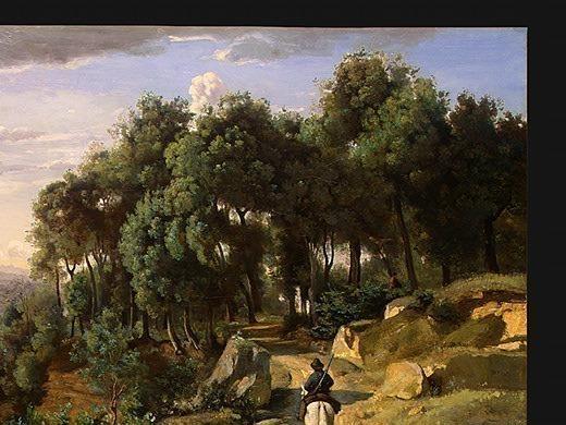 A View near Volterra, 1838, Detalj 1, NG Washington. Jean-Baptiste-Camille Corot