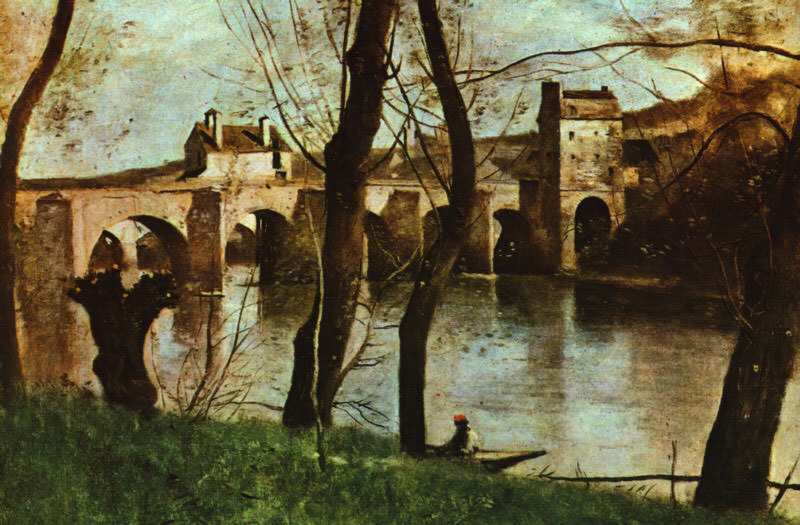 The Bridge at Nantes, Musee du Louvre at Paris. Jean-Baptiste-Camille Corot