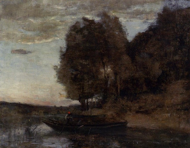 Fisherman Boating along a Wooded Landscape. Jean-Baptiste-Camille Corot
