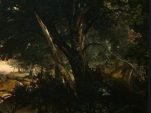 Forest of Fontainebleau, c. 1830, Detalj 6, NG Washing. Jean-Baptiste-Camille Corot