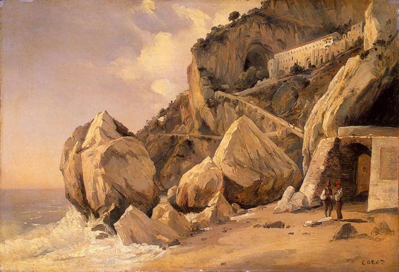 Rocks in Amalfi. Jean-Baptiste-Camille Corot