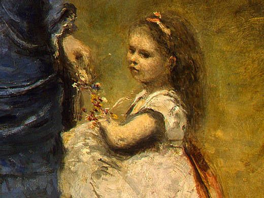 Madame Stumpf and Her Daughter, 1872, Detalj 4, NG Was. Jean-Baptiste-Camille Corot