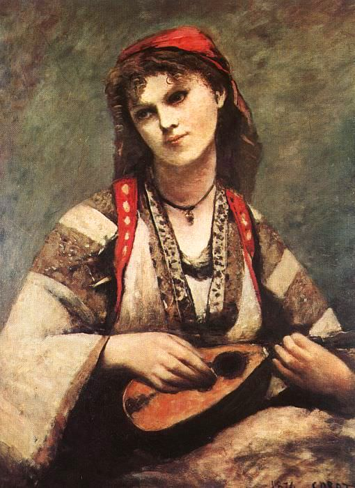 Gypsy with a Mandolin, 1874, Museum of Art, Sao Paolo. Jean-Baptiste-Camille Corot