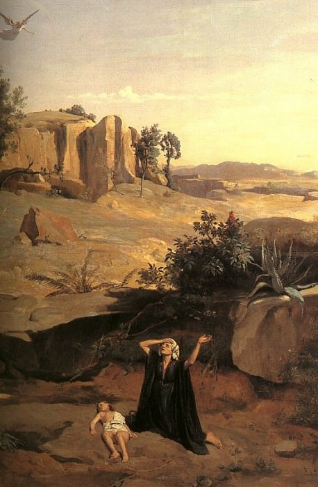 HAGAR IN THE WILDERNESS, DETAIL, 1835, OIL ON CANVAS. Jean-Baptiste-Camille Corot