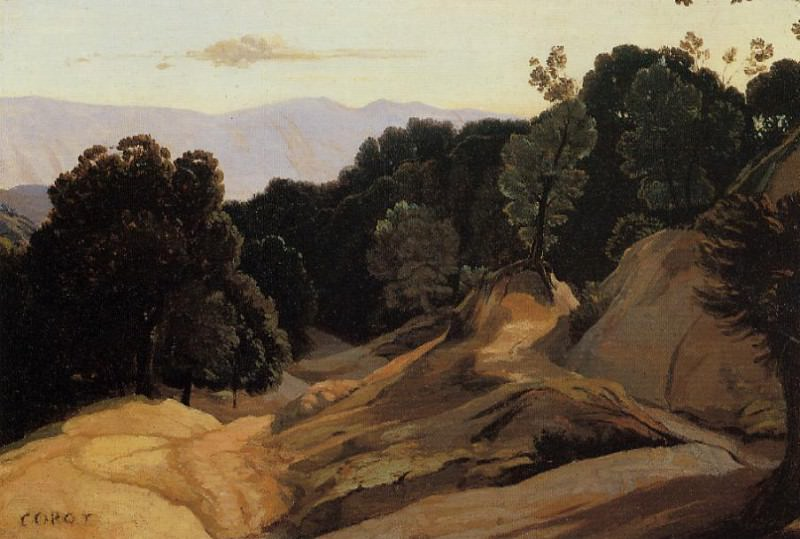 Road through Wooded Mountains. Jean-Baptiste-Camille Corot