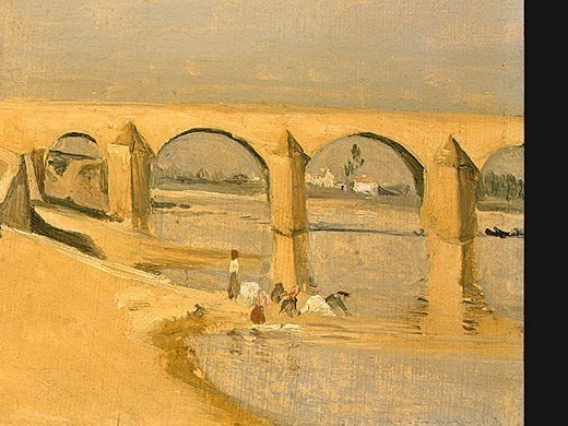 River Scene with Bridge, 1834, Detalj 2, NG Washington. Jean-Baptiste-Camille Corot
