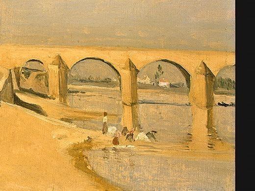 Сценка на реке, у моста, 1834, фрагмент. Жан-Батист-Камиль Коро