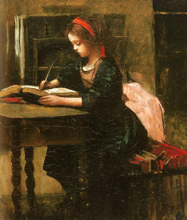 Девочка перерисовывает текст книги, чтобы научиться писать. Жан-Батист-Камиль Коро