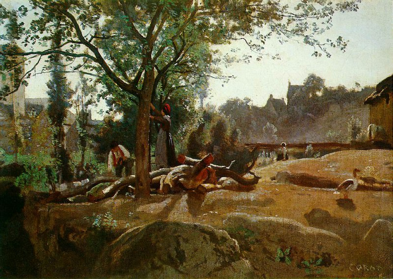 Peasants Under the Trees at Dawn, Morvan c.1840-45. Jean-Baptiste-Camille Corot