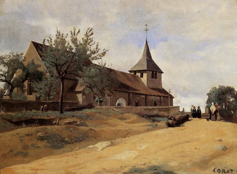 The Church at Lormes. Jean-Baptiste-Camille Corot