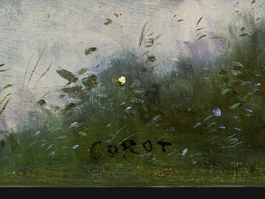 Ville dAvray, c. 1867-1870, Detalj 5, NG Washington. Jean-Baptiste-Camille Corot