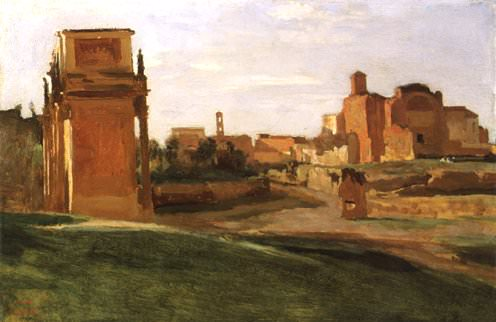 The Arch of Constantine and the Forum, Rome, 1843, 27x. Jean-Baptiste-Camille Corot