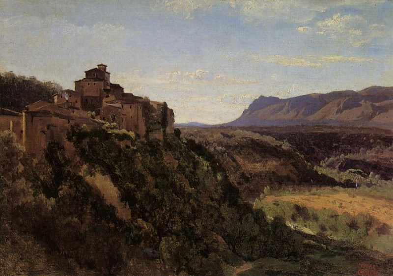 Papigno Buildings Overlooking the Valley. Jean-Baptiste-Camille Corot