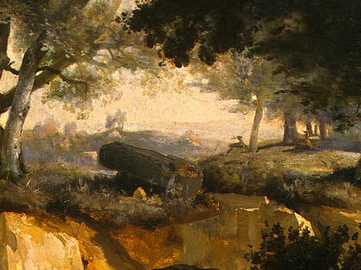 Лес Фонтенбло, ок.1830, фрагмент. Жан-Батист-Камиль Коро