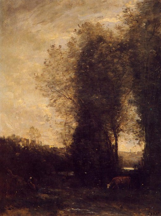 A Cow and its Keeper. Jean-Baptiste-Camille Corot