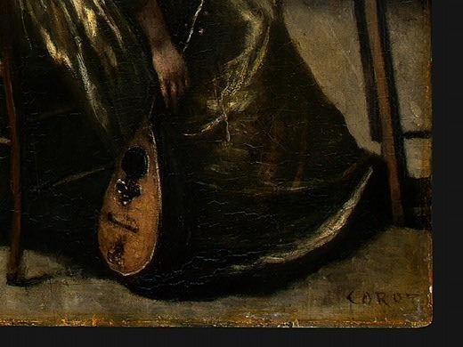 The Artists Studio, c. 1855-1860, Detalj 5, NG Washin. Jean-Baptiste-Camille Corot