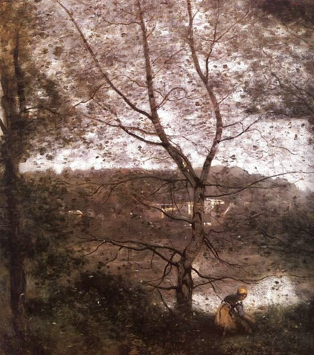 Ville dAvray, detail, exhibited 1870, oil on canvas,. Jean-Baptiste-Camille Corot