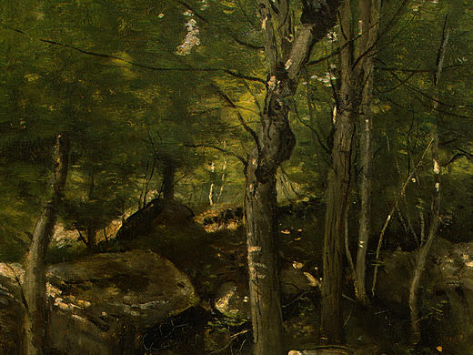 Rocks in the Forest of Fontainebleau, 1860-1865, Detal. Jean-Baptiste-Camille Corot