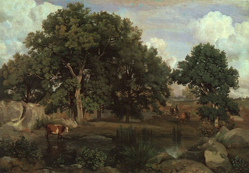 FOREST OF FONTAINEBLEAU, 1846, OIL ON CANVAS. Jean-Baptiste-Camille Corot